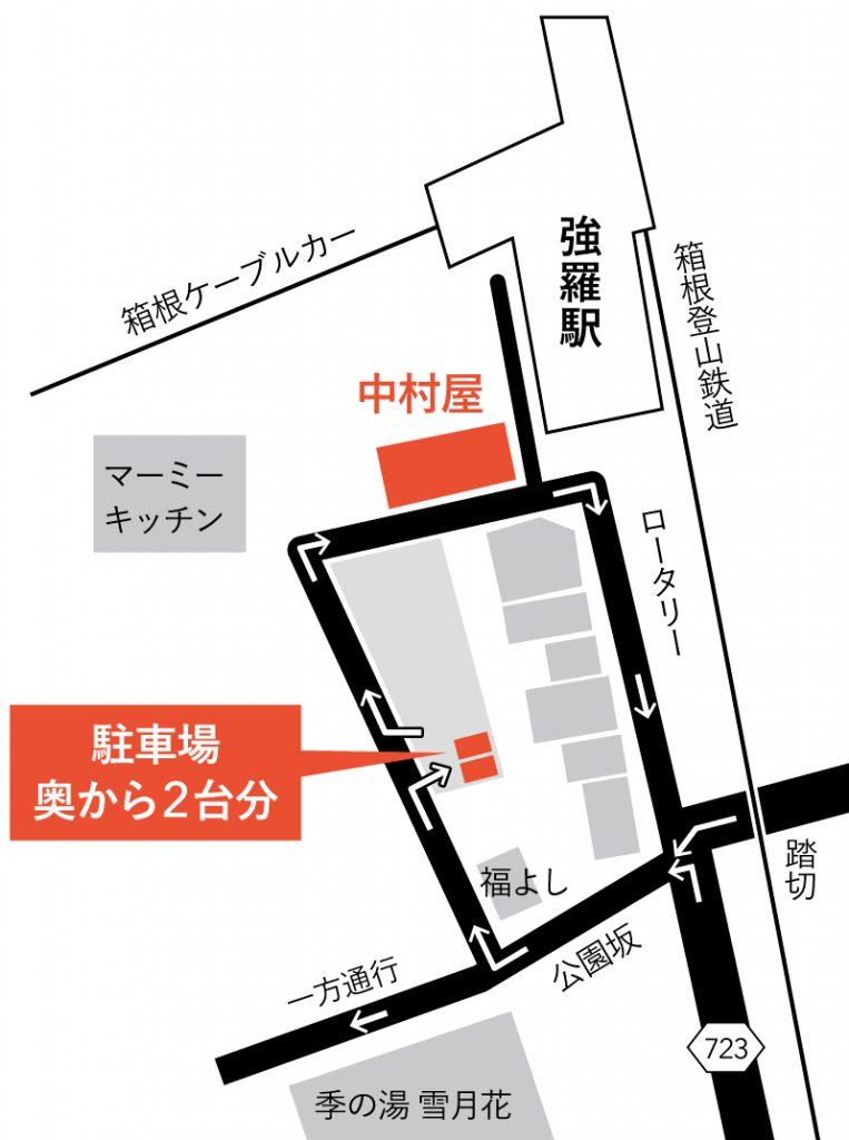 強羅中村屋駐車場案内図
